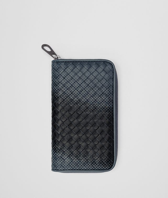 BOTTEGA VENETA DENIM INTRECCIATO NAPPA ZIP-AROUND WALLET Zip Around Wallet Man fp