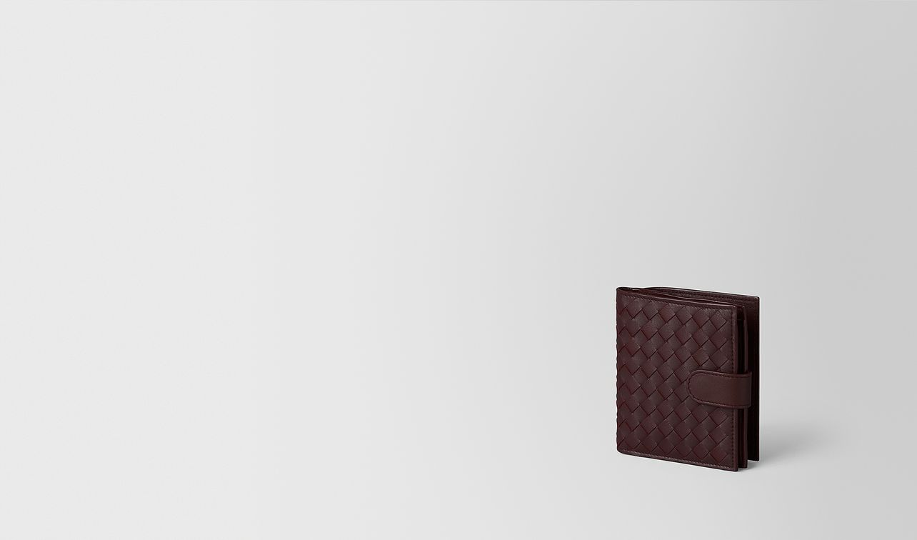 dark barolo intrecciato nappa mini wallet landing