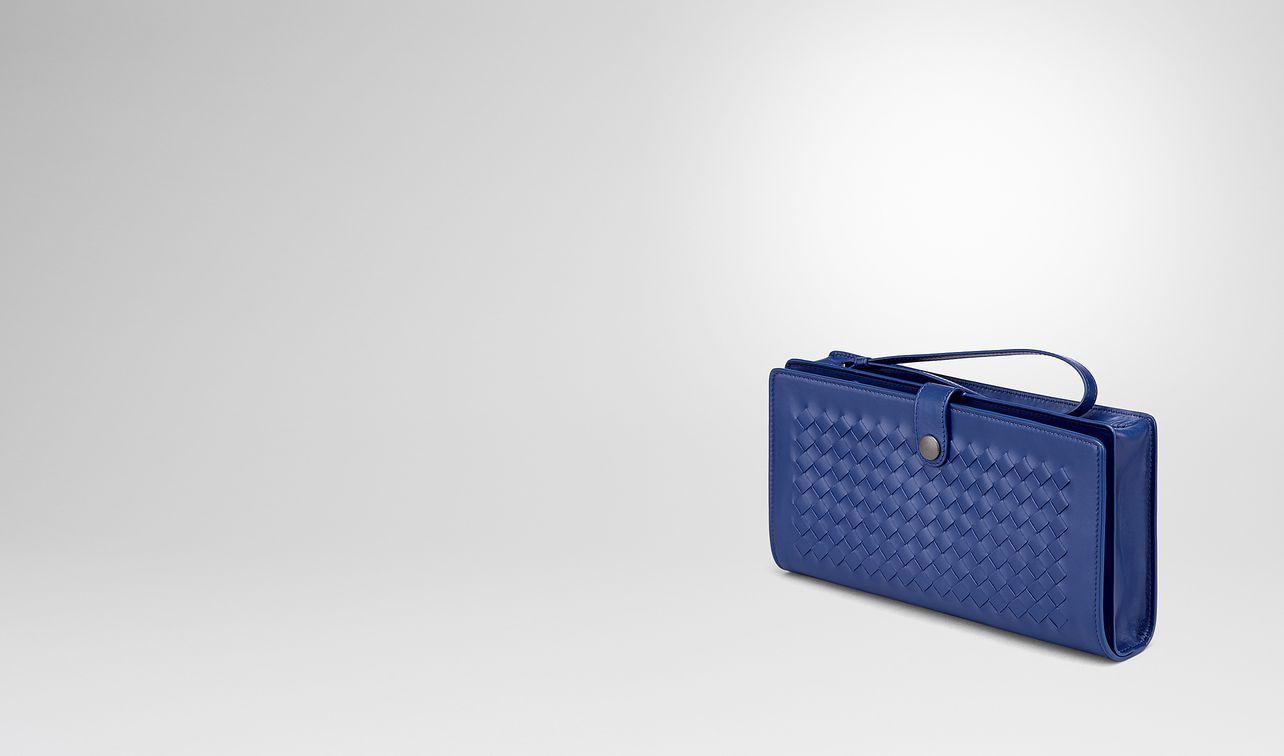 cobalt blue intrecciato calf multi-functional case landing