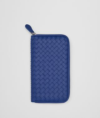 COBALT BLUE INTRECCIATO ZIP-AROUND WALLET