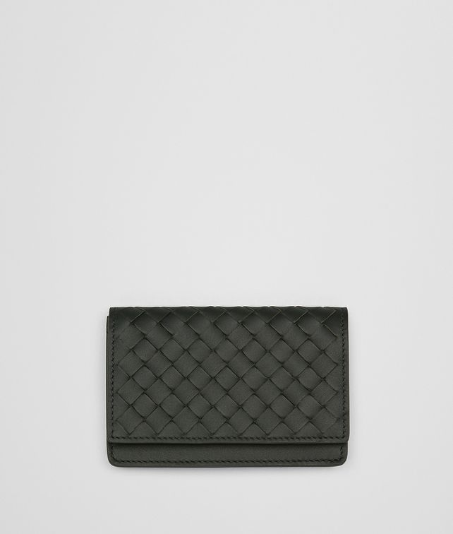 BOTTEGA VENETA DARK MOSS INTRECCIATO NAPPA CARD CASE Card Case or Coin Purse E fp