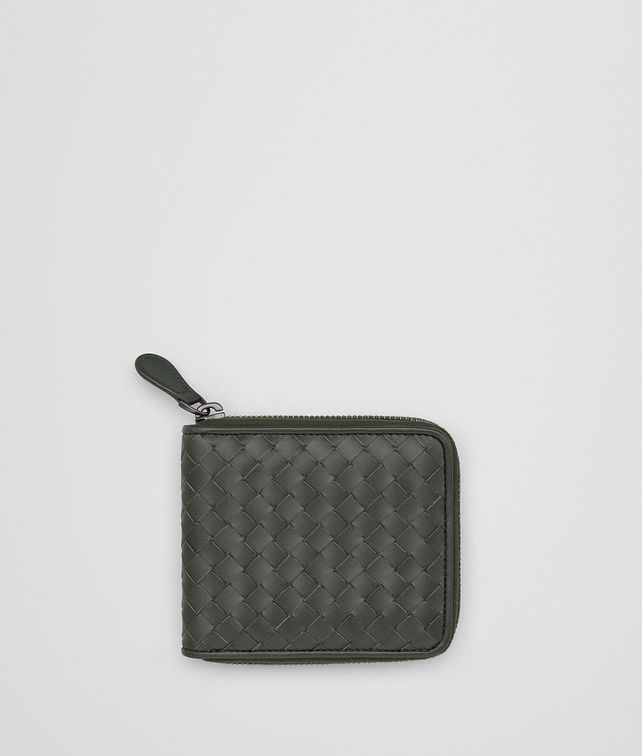 BOTTEGA VENETA DARK MOSS INTRECCIATO ZIP-AROUND WALLET Bi-fold Wallet Man fp