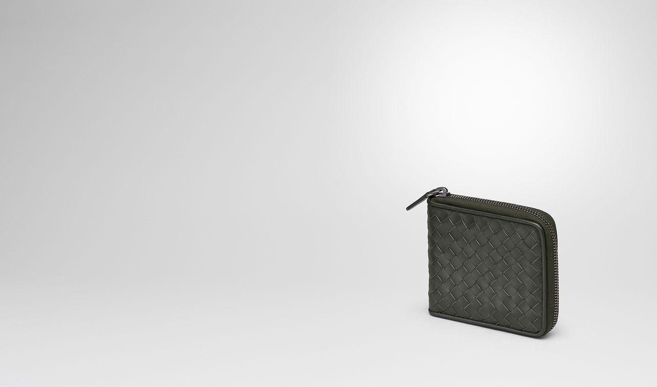 dark moss intrecciato zip-around wallet landing