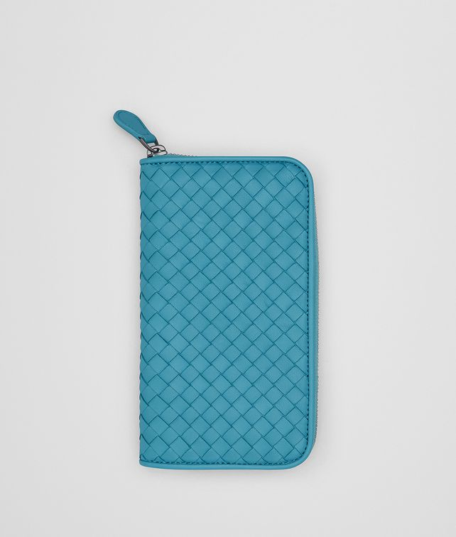 BOTTEGA VENETA AQUA INTRECCIATO NAPPA ZIP-AROUND WALLET Zip Around Wallet [*** pickupInStoreShipping_info ***] fp