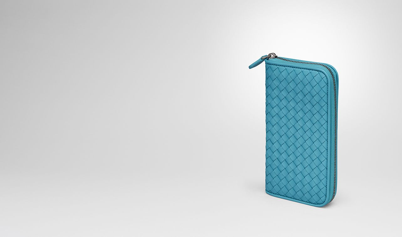 aqua intrecciato nappa zip-around wallet landing