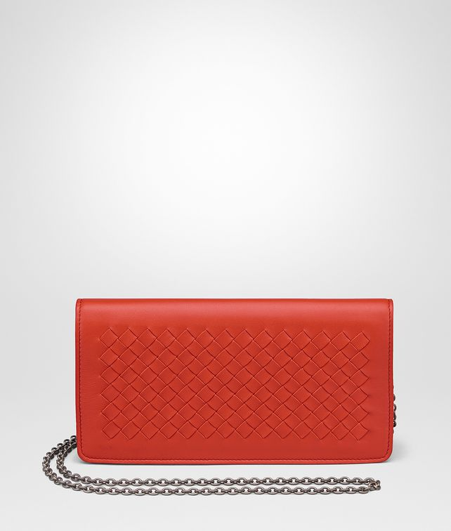 BOTTEGA VENETA TERRACOTTA INTRECCIATO NAPPA CONTINENTAL WALLET CHAIN WALLET Woman fp