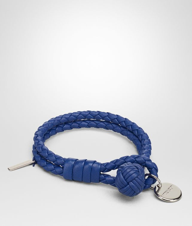 BOTTEGA VENETA COBALT INTRECCIATO NAPPA BRACELET Keyring or Bracelets E fp