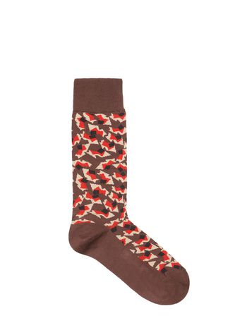 Marni Brown sock in cotton Metropolis print Woman