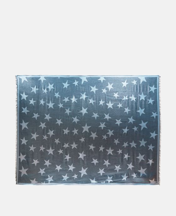 Blue Metallic Star Print Scarf