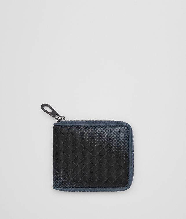 BOTTEGA VENETA DENIM INTRECCIATO NAPPA ZIP-AROUND WALLET Bi-fold Wallet Man fp