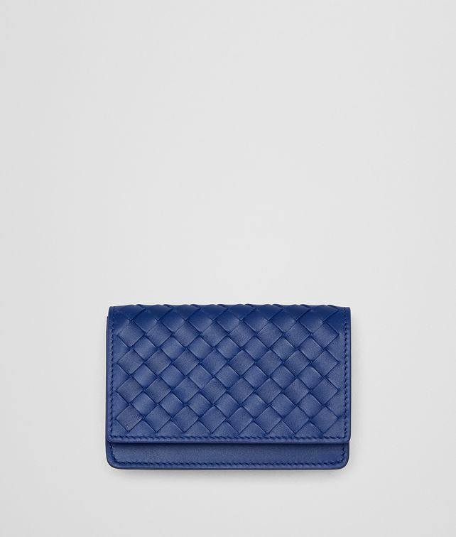 BOTTEGA VENETA COBALT INTRECCIATO CARD CASE Card Case or Coin Purse E fp