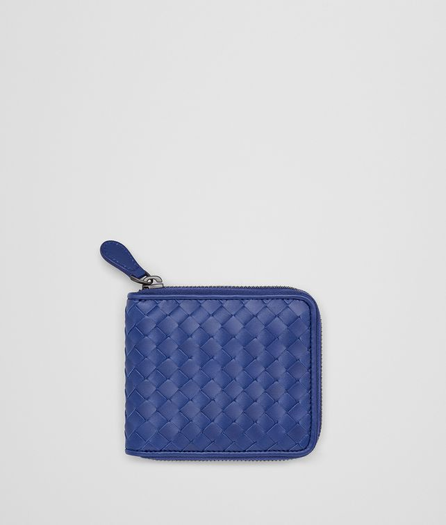 BOTTEGA VENETA COBALT BLUE INTRECCIATO ZIP-AROUND WALLET Bi-fold Wallet Man fp
