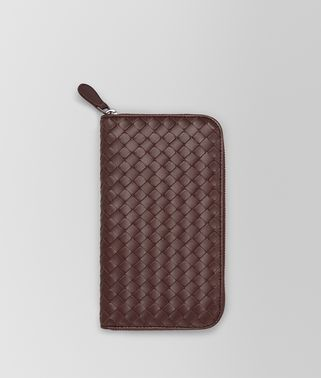 DARK BAROLO INTRECCIATO ZIP-AROUND WALLET