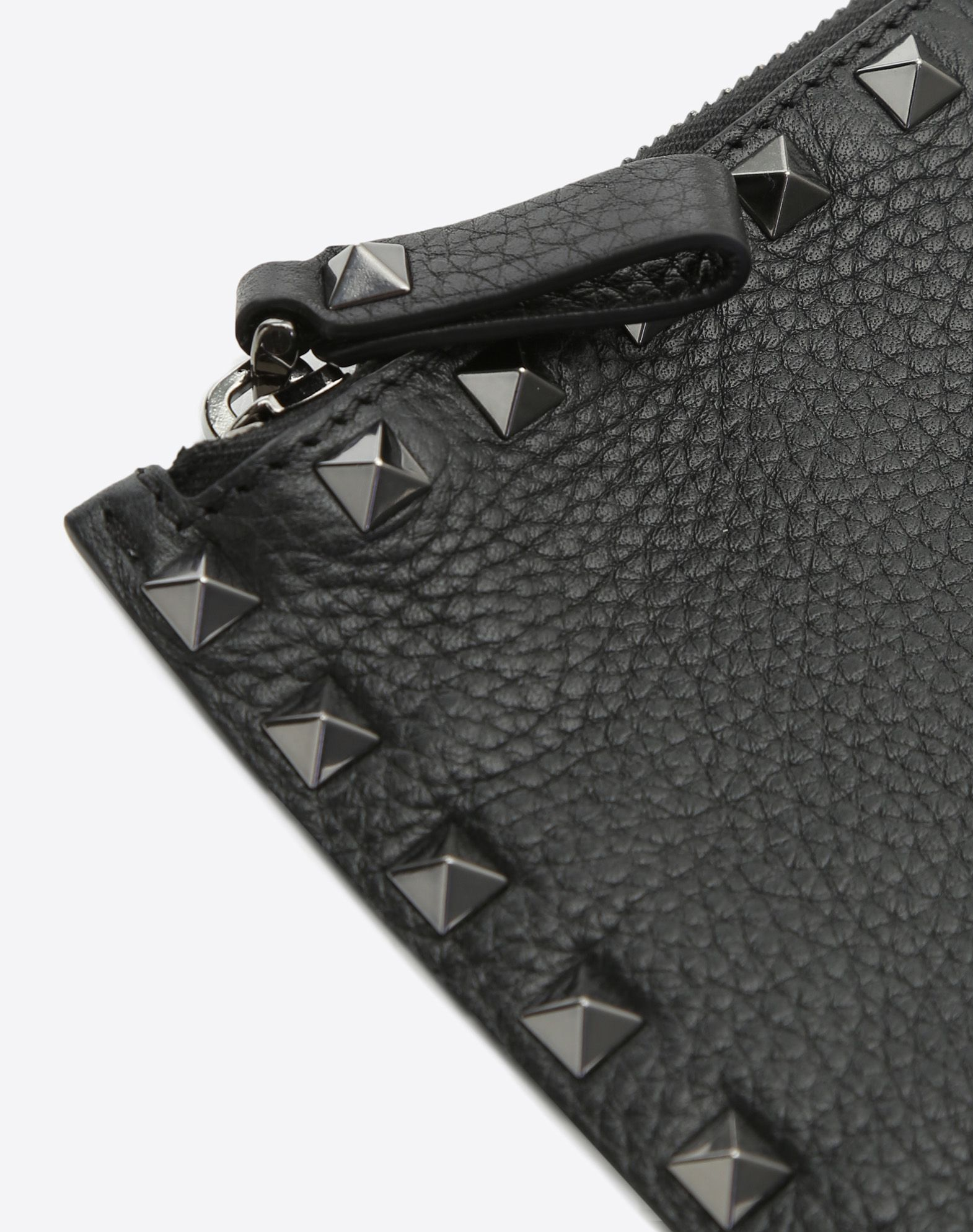 VALENTINO Textured leather Studs Embossed logo Zip  46549505bi