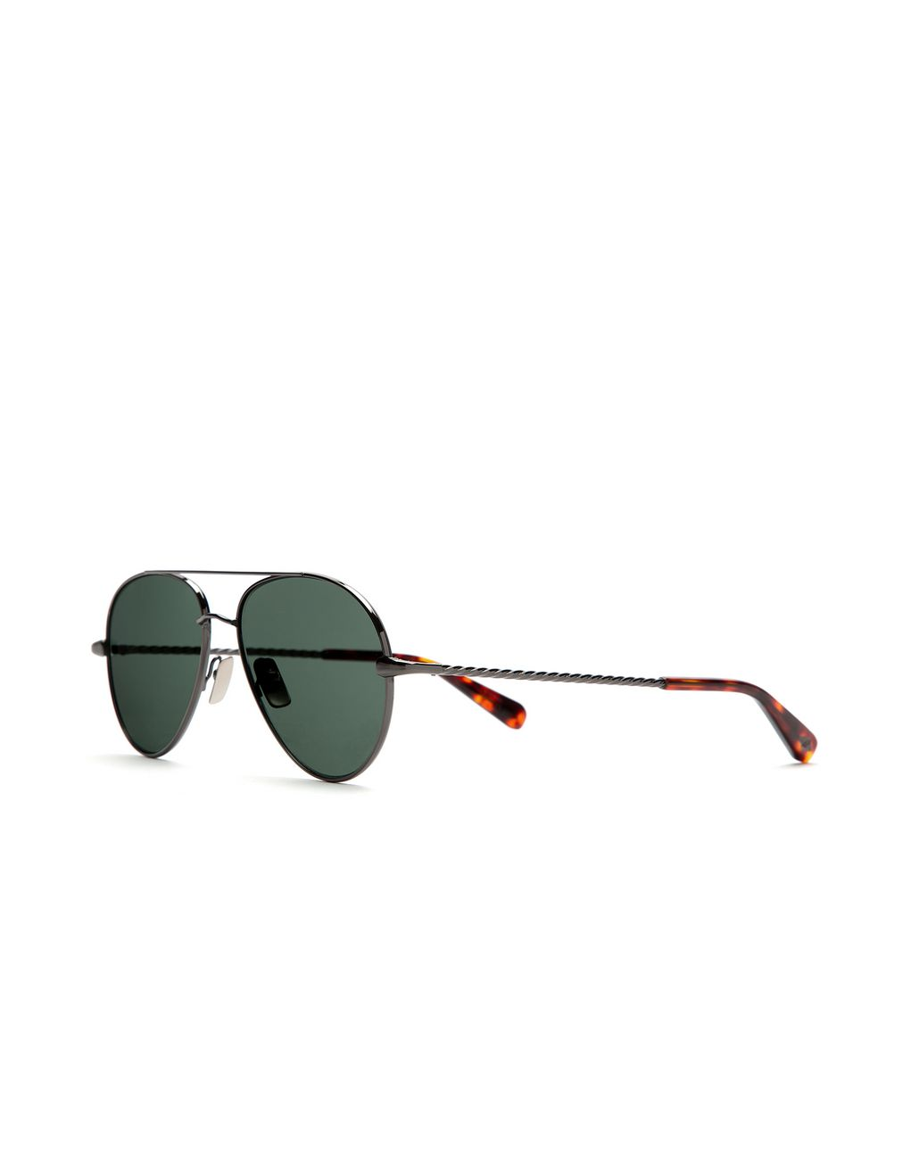 BRIONI Ruthenium Aviator Sunglasses with Green Lenses Sunglasses Man r