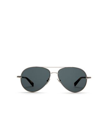 Silver Aviator Sunglasses with Gray Lenses