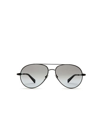 Silver Black Aviator Sunglasses with Gray Lenses