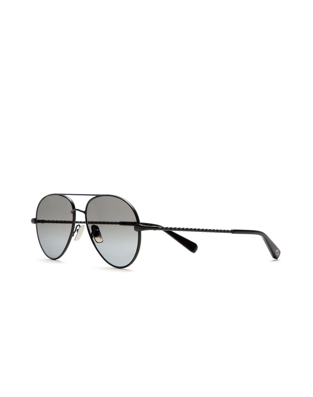 BRIONI Silver Black Aviator Sunglasses with Gray Lenses Sunglasses U r