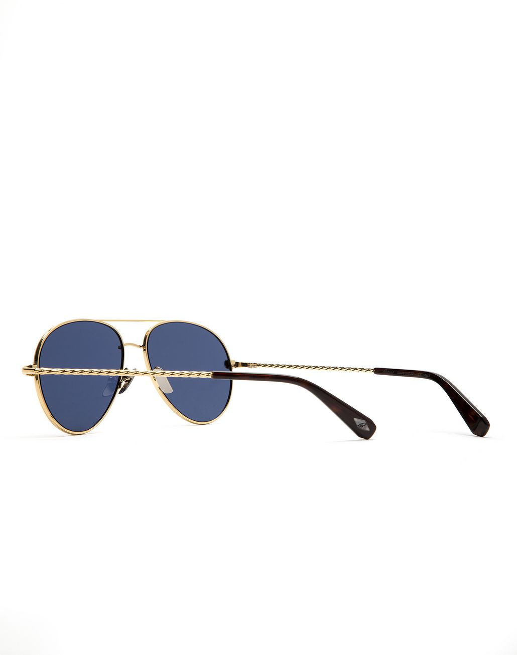 BRIONI Gold Aviator Sunglasses with Blue Lenses Sunglasses U d
