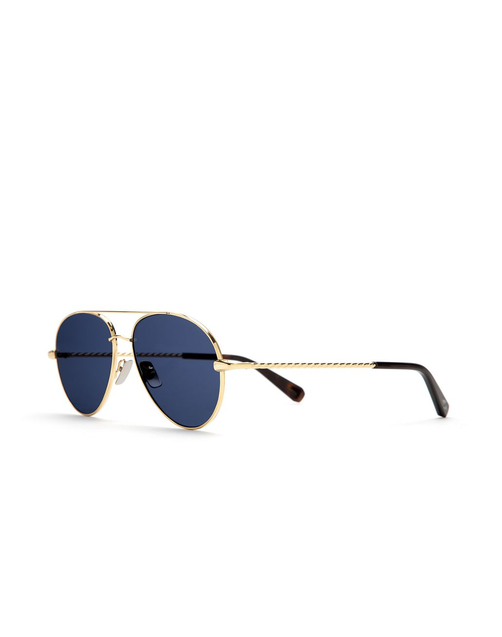 BRIONI Gold Aviator Sunglasses with Blue Lenses Sunglasses U r