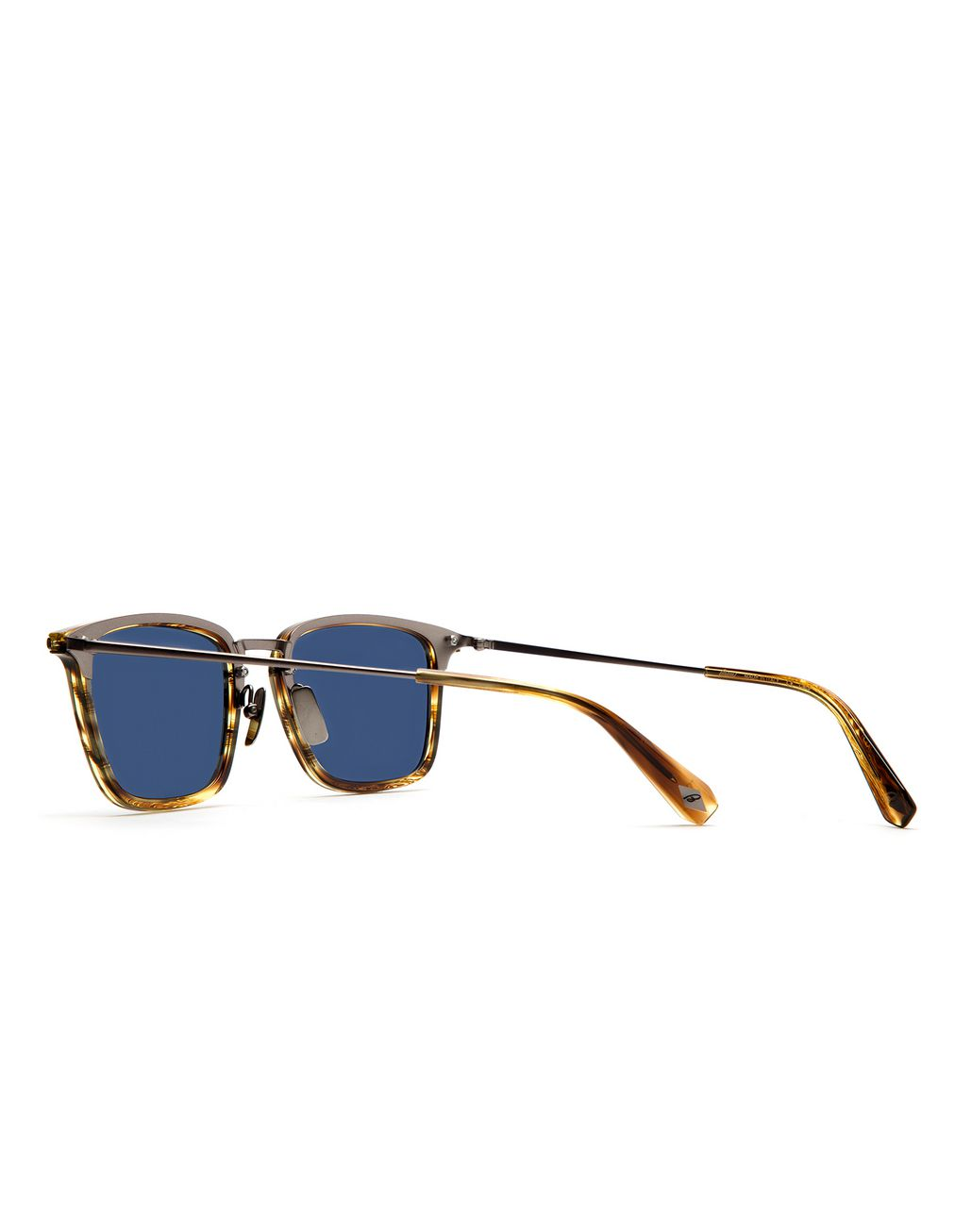 BRIONI Shiny Brown Havana Squared Sunglasses with Blue Lenses Sunglasses Man d