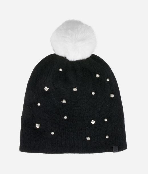 KARL LAGERFELD Bonnet à pompon avec perles chats 12_f
