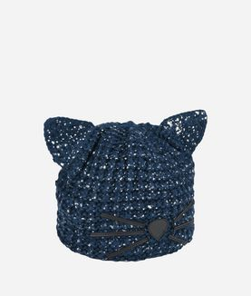KARL LAGERFELD CAT BEANIE METALLIC