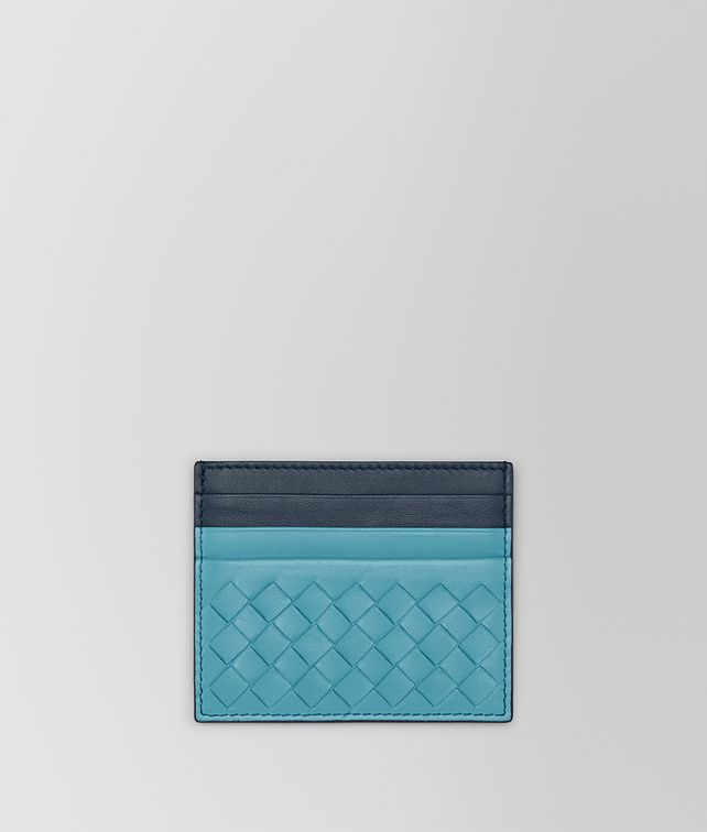 BOTTEGA VENETA AQUA INTRECCIATO NAPPA CARD CASE Card Case or Coin Purse E fp