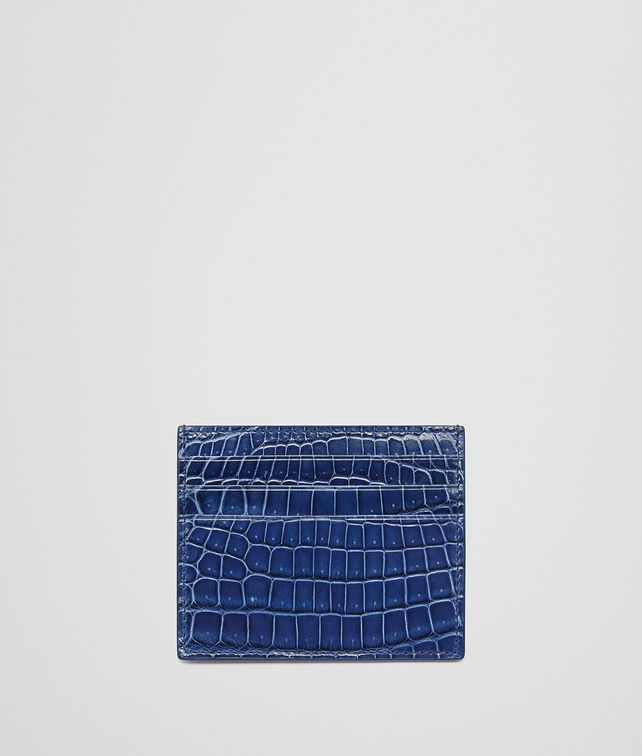 BOTTEGA VENETA COBALT BLUE CROCODILE CARD CASE Card Case or Coin Purse E fp