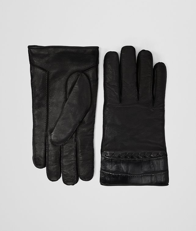 BOTTEGA VENETA NERO NAPPA CROCODILE GLOVE Hat or gloves [*** pickupInStoreShippingNotGuaranteed_info ***] fp