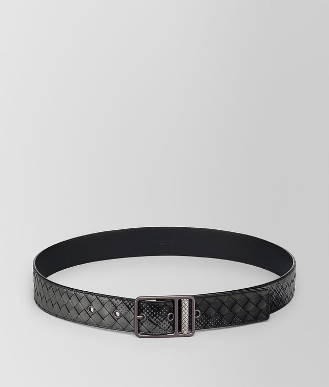 BOTTEGA VENETA NERO LIGHT GREY INTRECCIATO NAPPA BELT Belt [*** pickupInStoreShippingNotGuaranteed_info ***] fp