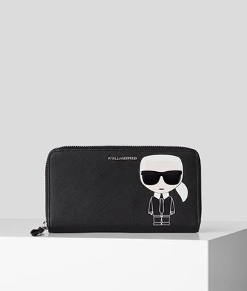 KARL LAGERFELD K/IKONIK ZIPPER AROUND WALLET