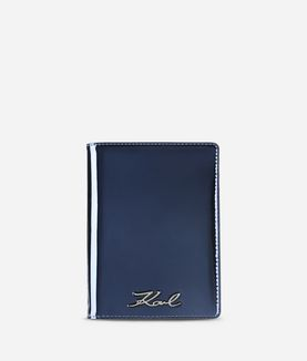 KARL LAGERFELD K/SIGNATURE GLOSS PASSPORT HOLDER