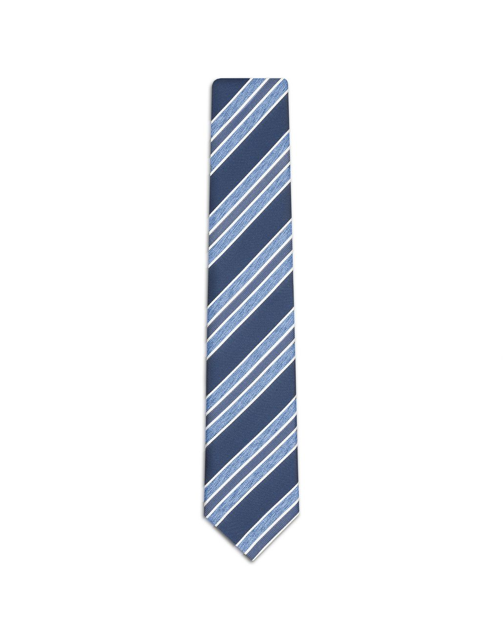 BRIONI Navy Blue and Sky Blue Regimental Tie Tie [*** pickupInStoreShippingNotGuaranteed_info ***] f