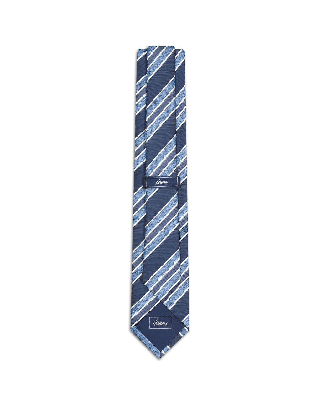 BRIONI Navy Blue and Sky Blue Regimental Tie Tie [*** pickupInStoreShippingNotGuaranteed_info ***] r