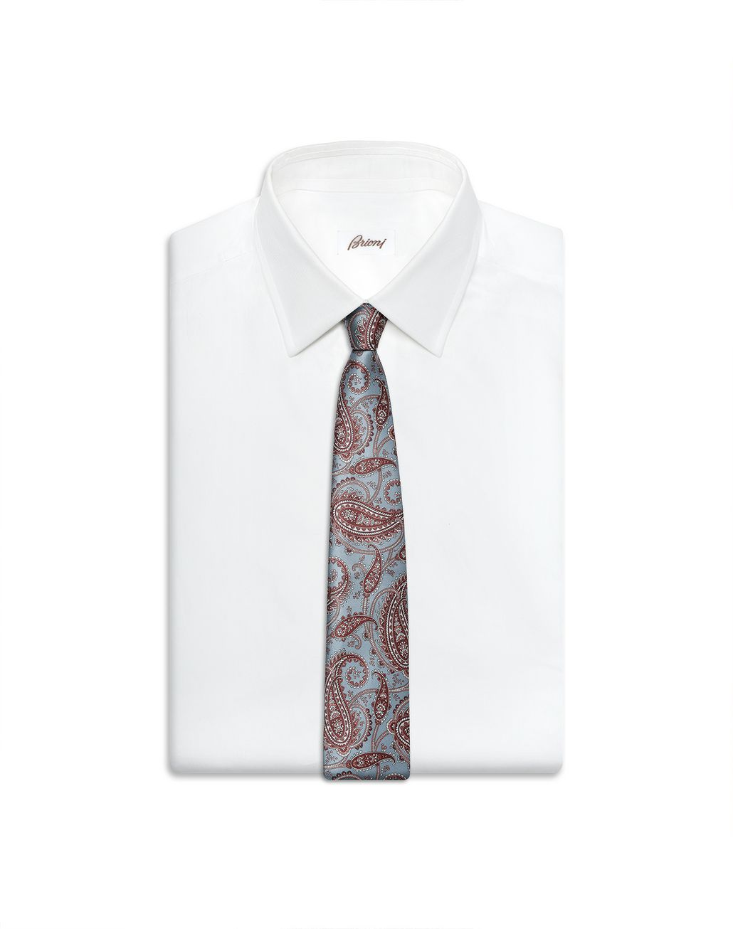 BRIONI Sky-Blue and Brown Paisley Tie Tie Man e