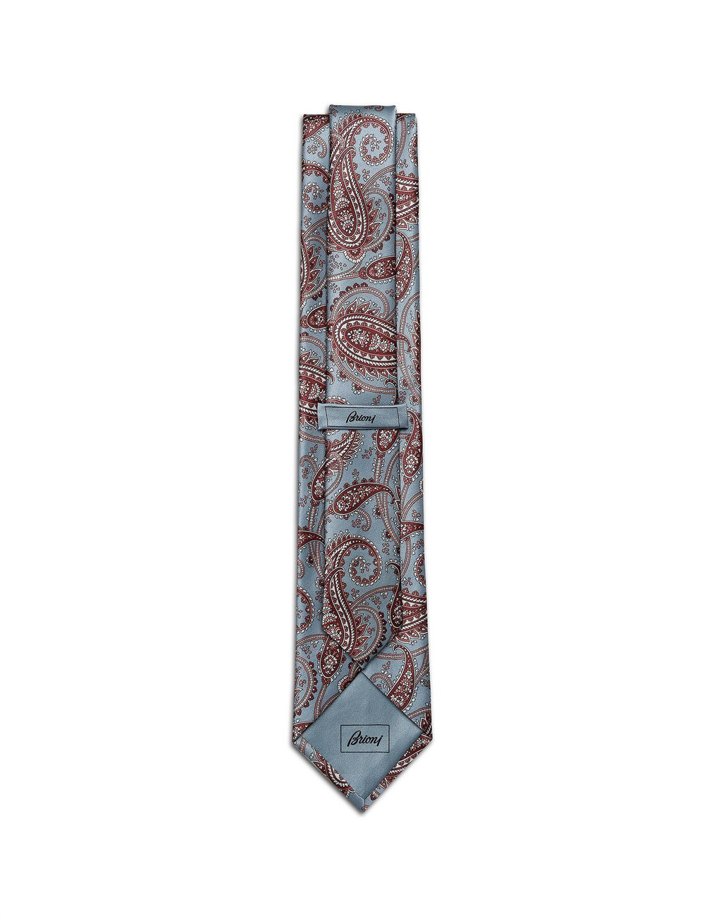 BRIONI Sky-Blue and Brown Paisley Tie Tie Man r