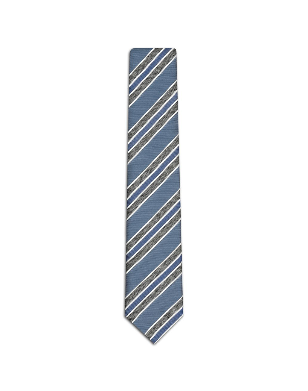 BRIONI Sky Blue and Grey Regimental Tie Tie Man f
