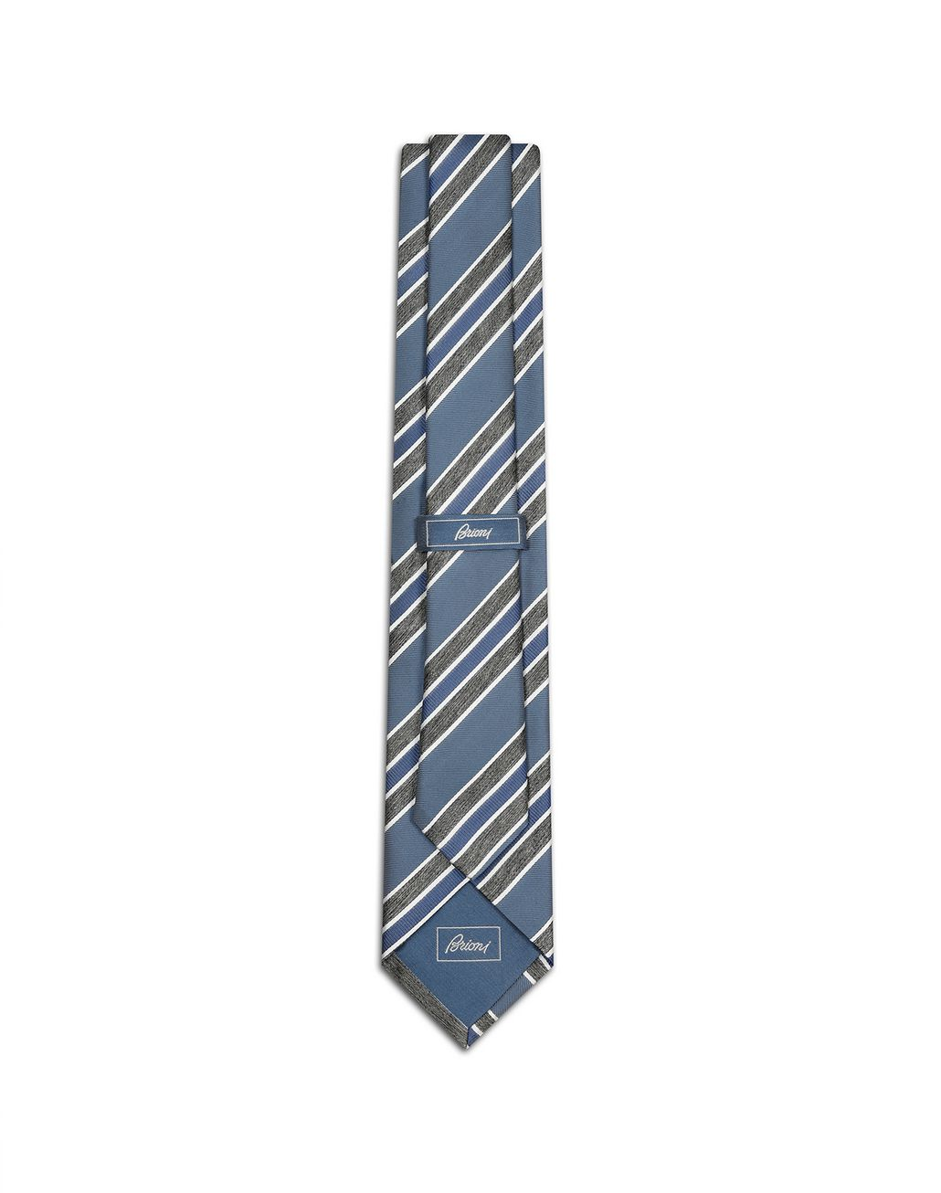 BRIONI Sky Blue and Grey Regimental Tie Tie Man r
