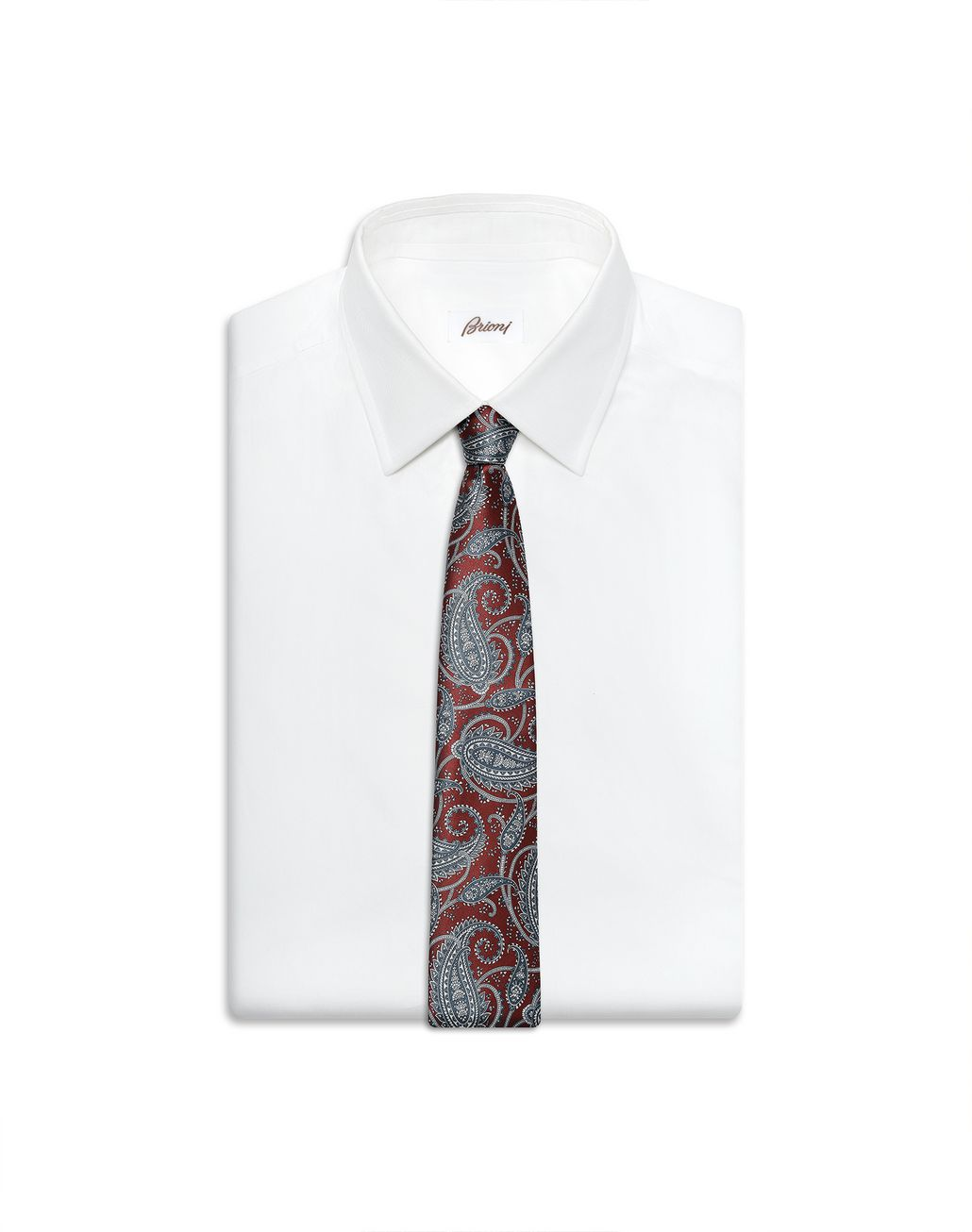 BRIONI Bordeaux and Bluette Paisley Tie Tie Man e