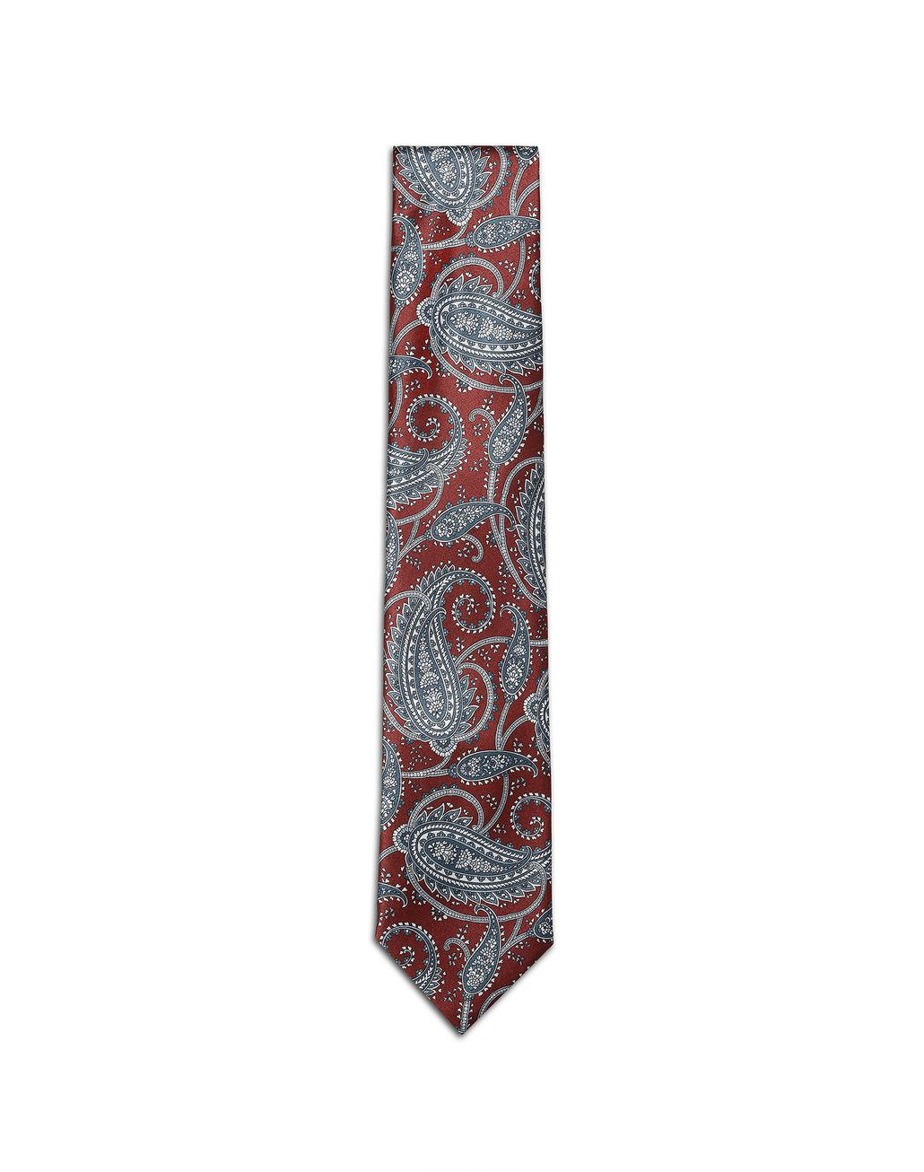 BRIONI Bordeaux and Bluette Paisley Tie Tie Man f