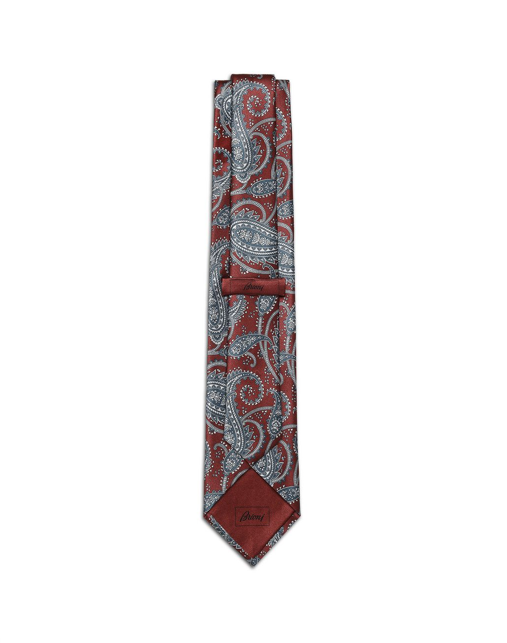 BRIONI Bordeaux and Bluette Paisley Tie Tie Man r