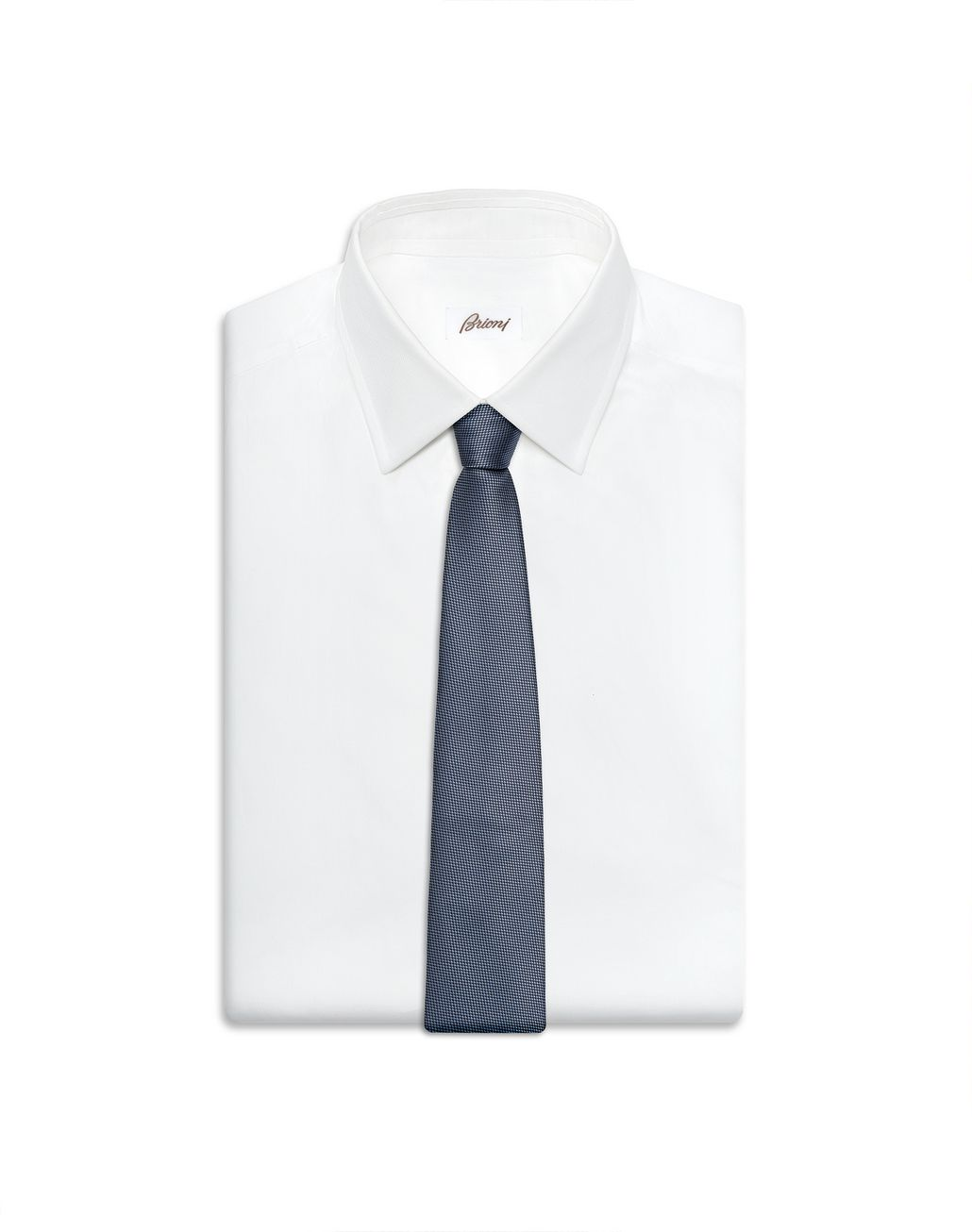 BRIONI Sky Blue and Navy Blue Micro-Design Tie Tie Man e