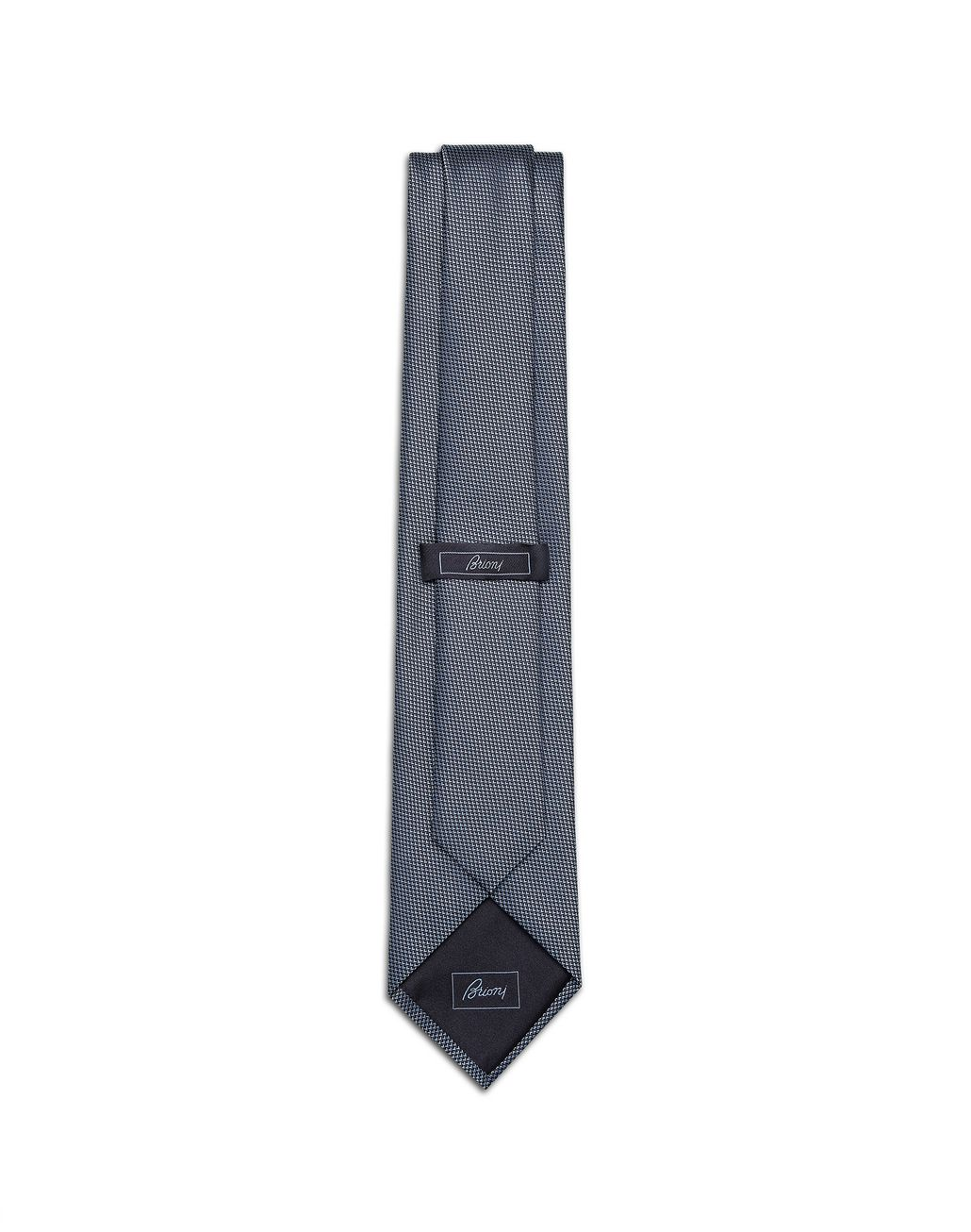 BRIONI Sky-Blue and Navy-Blue Micro-Design Tie Tie [*** pickupInStoreShippingNotGuaranteed_info ***] r