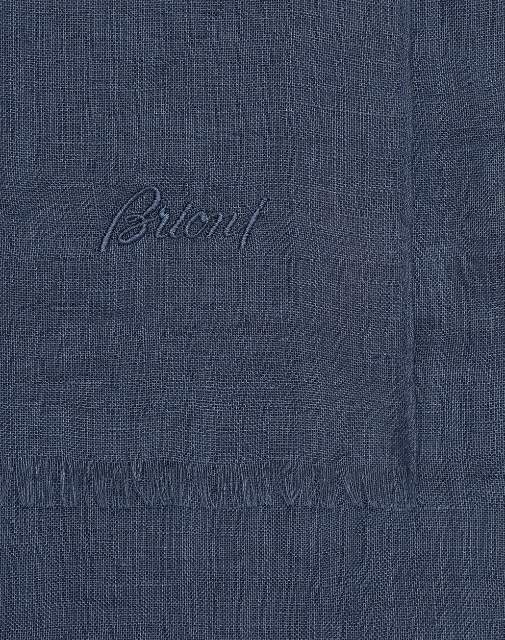 BRIONI Navy Blue Linen Scarf Foulards & Scarves Man d