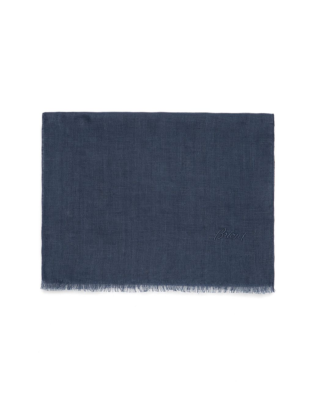 BRIONI Navy Blue Linen Scarf Foulards & Scarves Man f