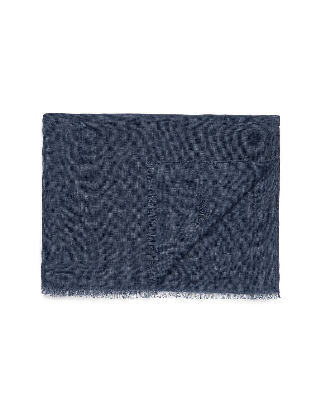 BRIONI Navy Blue Linen Scarf Foulards & Scarves Man r