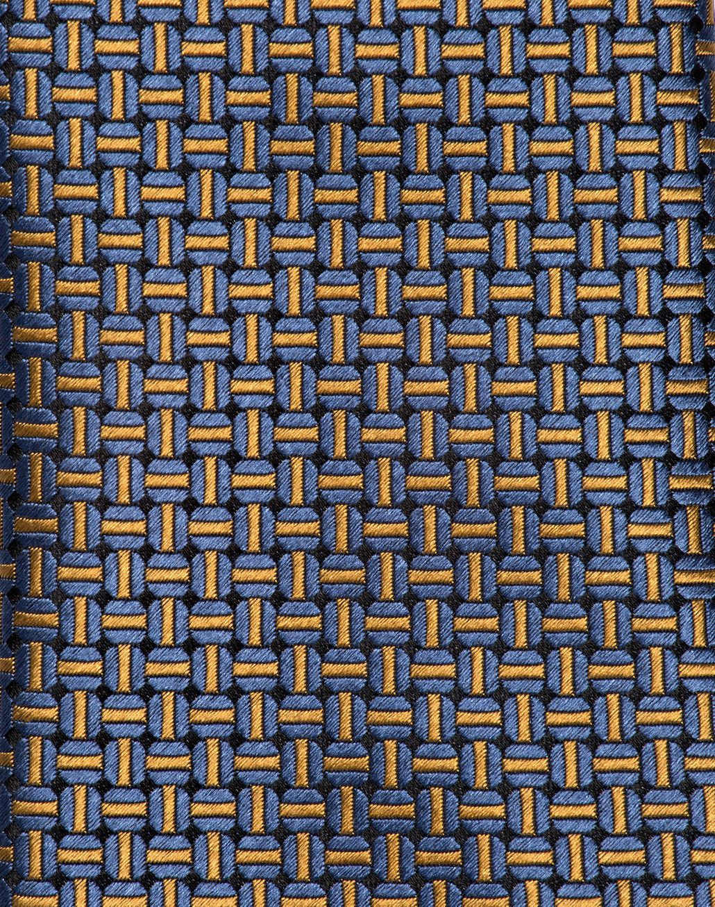 BRIONI Navy Blue and Mustard Designed Tie Tie U d