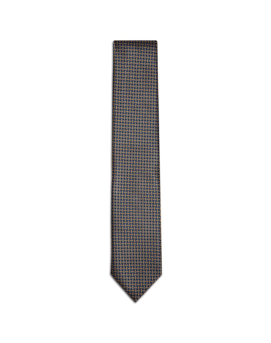 BRIONI Navy Blue and Mustard Designed Tie Tie U f