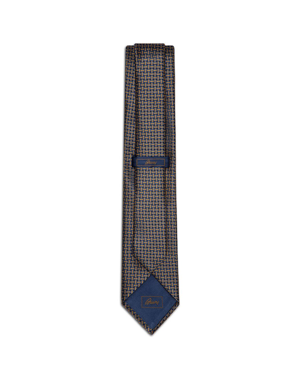 BRIONI Navy Blue and Mustard Designed Tie Tie Man r
